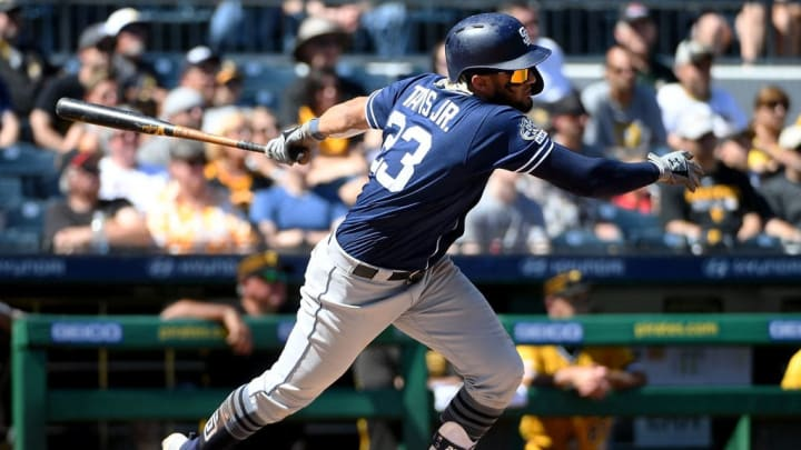 PITTSBURGH, PA - JUNE 23: Fernando Tatis Jr. #23 of the San Diego Padres hits an RBI single to center field in the sixth inning during the game against the Pittsburgh Pirates at PNC Park on June 23, 2019 in Pittsburgh, Pennsylvania. (Photo by Justin Berl/Getty Images)