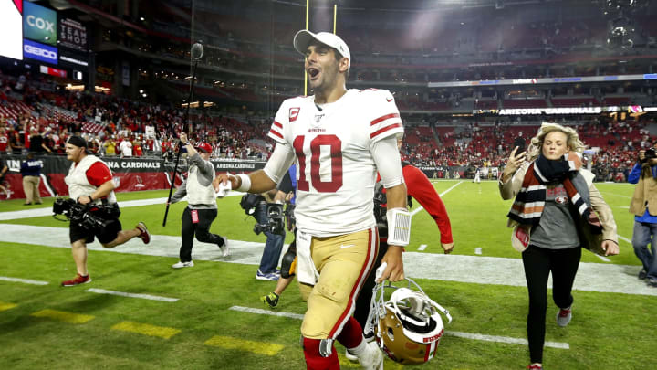 GLENDALE, ARIZONA - OCTOBER 31: Quarterback Jimmy Garoppolo #10 of the San Francisco 49ers walks off the field following the NFL football game against the Arizona Cardinals at State Farm Stadium on October 31, 2019 in Glendale, Arizona. The 49ers defeated the Cardinals 28-25. (Photo by Ralph Freso/Getty Images)