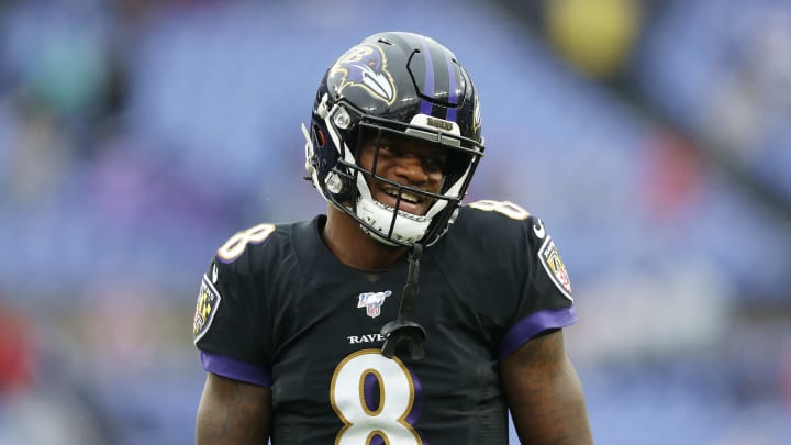 BALTIMORE, MARYLAND - DECEMBER 01: Lamar Jackson #8 of the Baltimore Ravens looks on before the game against the San Francisco 49ers at M&T Bank Stadium on December 01, 2019 in Baltimore, Maryland. (Photo by Patrick Smith/Getty Images)