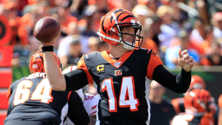 CINCINNATI, OHIO - SEPTEMBER 15:   Andy Dalton #14 of the Cincinnati Bengals throws the ball  during the game against the  San Francisco 49ers at Paul Brown Stadium on September 15, 2019 in Cincinnati, Ohio. (Photo by Andy Lyons/Getty Images)