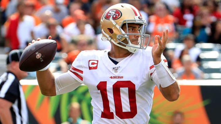 CINCINNATI, OHIO - SEPTEMBER 15:   Jimmy Garoppolo #10 of the San Francisco 49ers throws the ball during the game against the Cincinnati Bengals at Paul Brown Stadium on September 15, 2019 in Cincinnati, Ohio. (Photo by Andy Lyons/Getty Images)