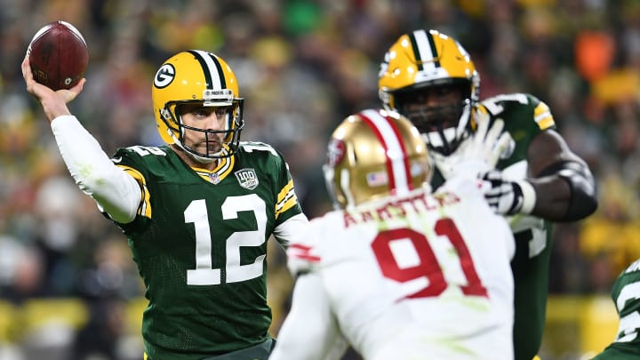 GREEN BAY, WI - OCTOBER 15:  Aaron Rodgers #12 of the Green Bay Packers drops back to pass during the second half against the San Francisco 49ers at Lambeau Field on October 15, 2018 in Green Bay, Wisconsin.  (Photo by Stacy Revere/Getty Images)