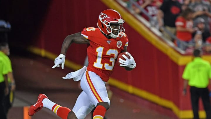 KANSAS CITY, MO - AUGUST 24: Wide receiver Byron Pringle #13 of the Kansas City Chiefs returns a kick-off during the second half of a pre-season game against the San Francisco 49ers at Arrowhead Stadium on August 24, 2019 in Kansas City, Missouri. (Photo by Peter G. Aiken/Getty Images)