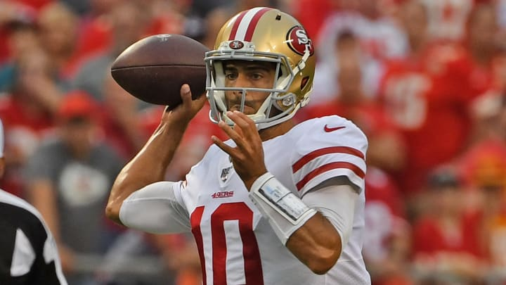 KANSAS CITY, MO - AUGUST 24: Quarterback Jimmy Garoppolo #10 of the San Francisco 49ers throws a pass during the first half of a pre-season game against the Kansas City Chiefs at Arrowhead Stadium on August 24, 2019 in Kansas City, Missouri. (Photo by Peter G. Aiken/Getty Images)