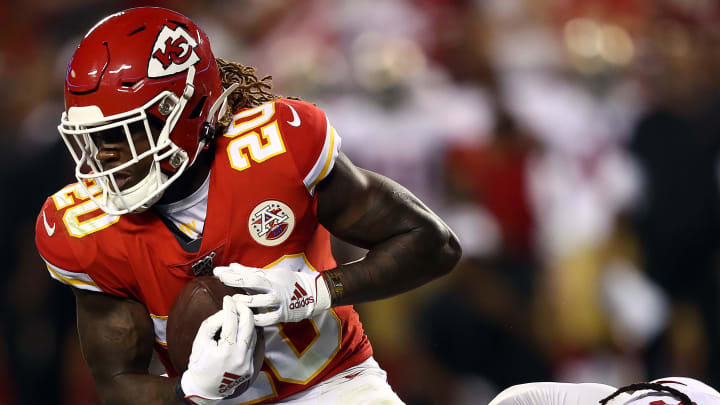 KANSAS CITY, MISSOURI - AUGUST 24:  Tremon Smith #20 of the Kansas City Chiefs in action during the preseason game against the  San Francisco 49ers Arrowhead Stadium on August 24, 2019 in Kansas City, Missouri. (Photo by Jamie Squire/Getty Images)