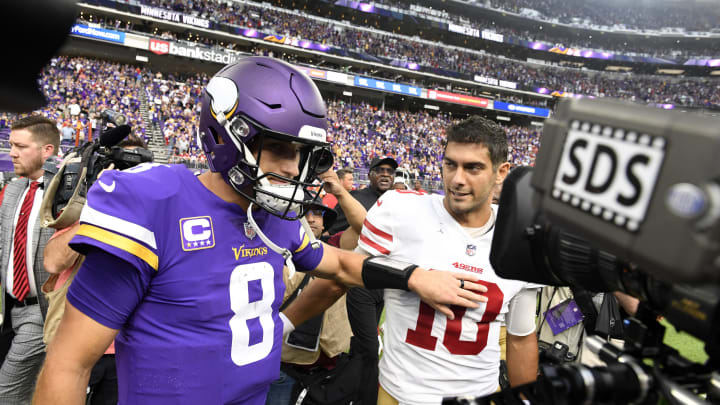 MINNEAPOLIS, MN - SEPTEMBER 09: Kirk Cousins #8 of the Minnesota Vikings and Jimmy Garoppolo #10 of the San Francisco 49ers greet each other on the field after the game at U.S. Bank Stadium on September 9, 2018 in Minneapolis, Minnesota. The Vikings defeated the 49ers 24-16.  (Photo by Hannah Foslien/Getty Images)