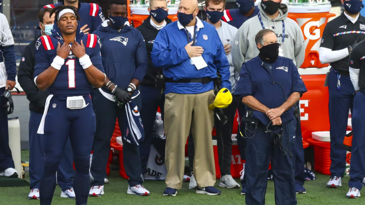 Cam Newton and Bill Belichick, San Francisco 49ers v New England Patriots