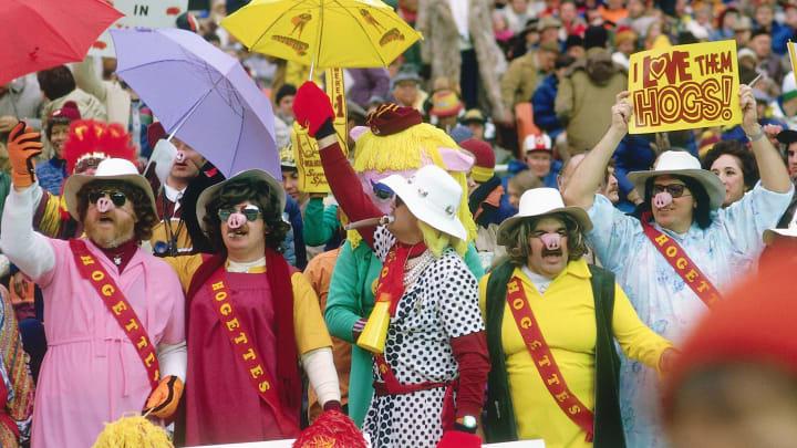 "Washington fans dressed as ""Hogettes."""
