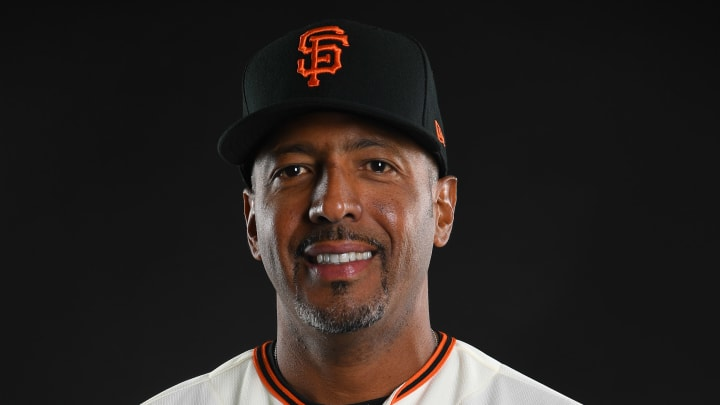 SCOTTSDALE, AZ - FEBRUARY 21: Jose Alguacil #17 of the San Francisco Giants poses during the Giants Photo Day on February 21, 2019 in Scottsdale, Arizona. (Photo by Jamie Schwaberow/Getty Images)