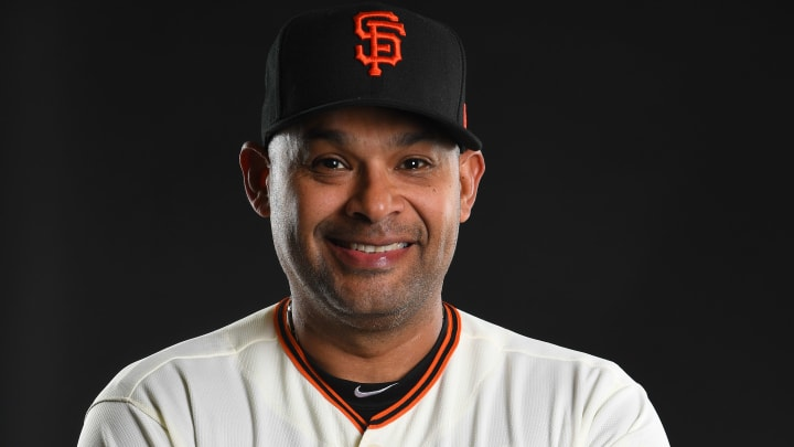 SCOTTSDALE, AZ - FEBRUARY 21: Lipso Nava #17 of the San Francisco Giants poses during the Giants Photo Day on February 21, 2019 in Scottsdale, Arizona. (Photo by Jamie Schwaberow/Getty Images)