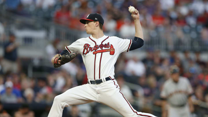 ATLANTA, GEORGIA - SEPTEMBER 21: Pitcher Max Fried #54 of the Atlanta Braves throws a pitch in the first inning during the game against the San Francisco Giants at SunTrust Park on September 21, 2019 in Atlanta, Georgia. (Photo by Mike Zarrilli/Getty Images)
