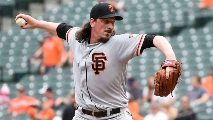 BALTIMORE, MD - JUNE 02: Jeff Samardzija #29 of the San Francisco Giants pitches against the Baltimore Orioles during the first inning at Oriole Park at Camden Yards on June 2, 2019 in Baltimore, Maryland. (Photo by Will Newton/Getty Images)