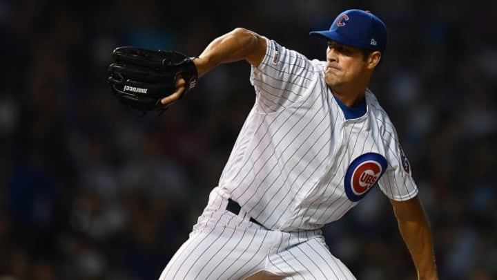 CHICAGO, ILLINOIS - AUGUST 20:  Cole Hamels #35 of the Chicago Cubs throws a pitch during a game against the San Francisco Giants at Wrigley Field on August 20, 2019 in Chicago, Illinois.  The Cubs defeated the Giants 5-3.  (Photo by Stacy Revere/Getty Images)