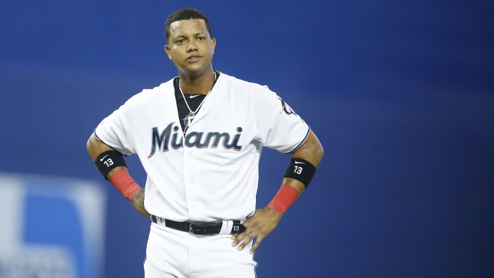 MIAMI, FLORIDA - MAY 30: Starlin Castro #13 of the Miami Marlins reacts after a double play against the San Francisco Giants at Marlins Park on May 30, 2019 in Miami, Florida. (Photo by Michael Reaves/Getty Images)
