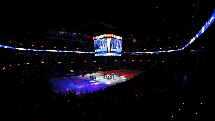 ST LOUIS, MISSOURI - MAY 15: A detailed view of the arena during the national anthem in Game Three between the San Jose Sharks and the St. Louis Blues in the Western Conference Finals during the 2019 NHL Stanley Cup Playoffs at Enterprise Center on May 15, 2019 in St Louis, Missouri. (Photo by Dilip Vishwanat/Getty Images)