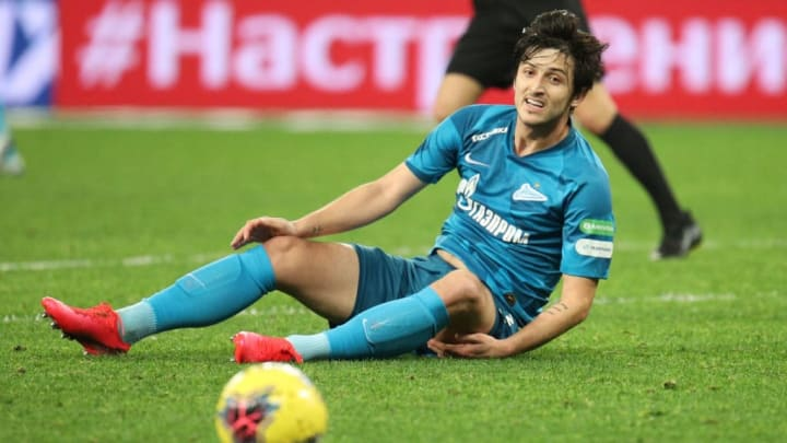 Sardar Azmoun of Zenit seen in action during the Russian...