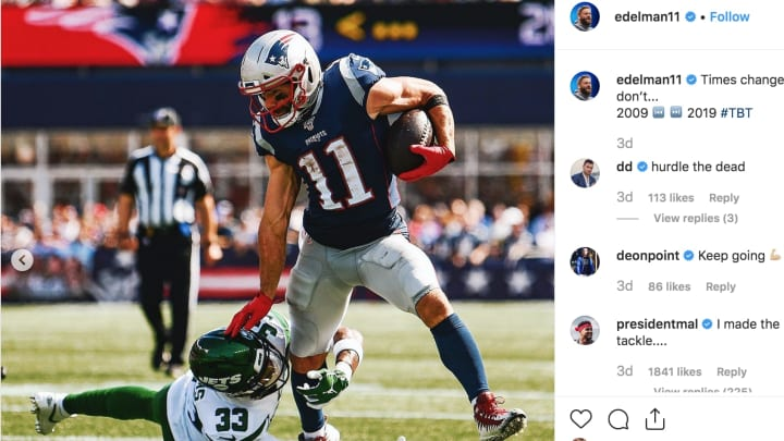 Jamal Adams claps back at Julian Edelman over his Instagram post trolling Jets.