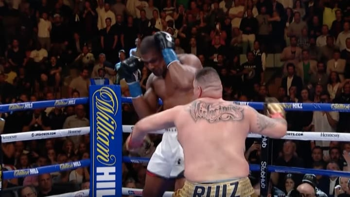 Andy Ruiz Jr. knocks down heavyweight champion Anthony Joshua in Round 7 at Madison Square Garden