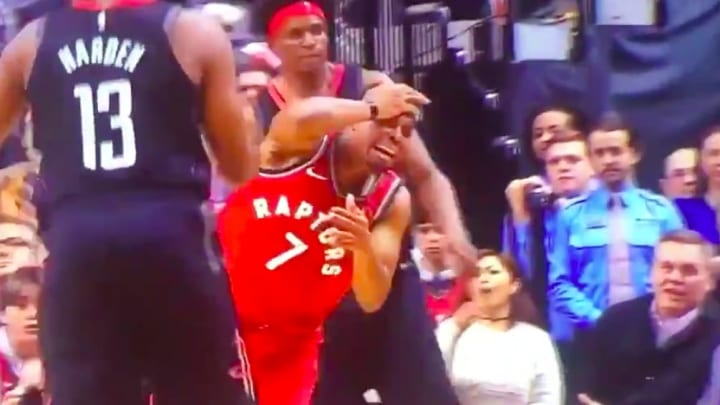 Kyle Lowry gave fans a legendary flop after some minor contact.