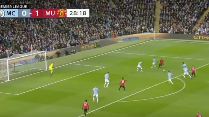 Anthony Martial's goal makes it 2-0 Manchester United against Manchester City.
