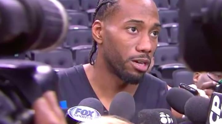 Los Angeles Clippers forward Kawhi Leonard answers media questions in Toronto