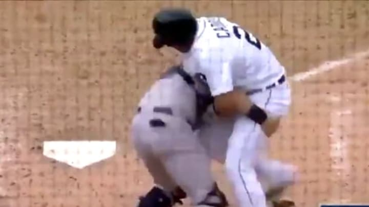 Austin Romine and Miguel Cabrera get into it