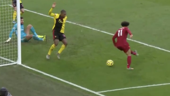 Liverpool forward Mo Salah makes it 2-0 against Watford with a brilliant back-heel finish.