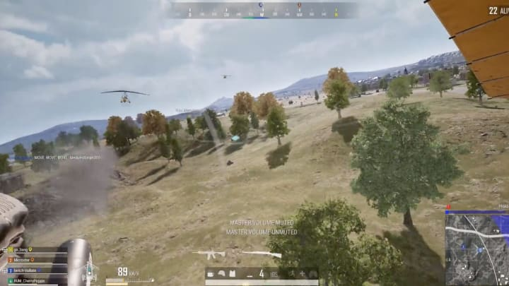 A PUBG player posted a clip of a group of players caught in an aerial battle.
