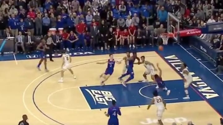 Kansas Jayhawks guard Devon Dotson misses game-winner at the buzzer.