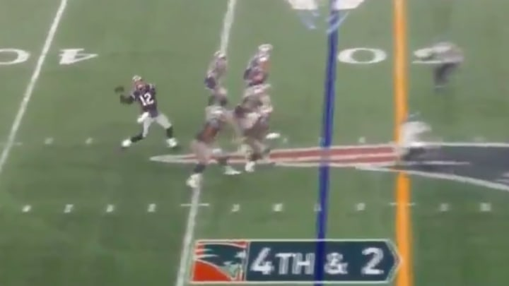 Tom Brady launched a Hail Mary before halftime.