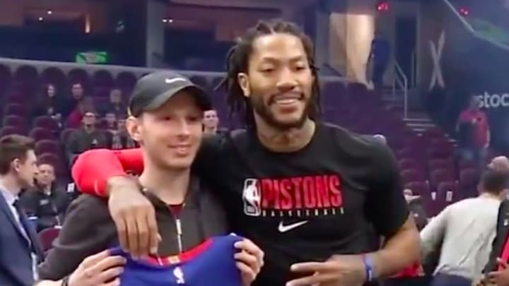 Derrick Rose meets with non-Hodgkins Lymphoma survivor ahead of Pistons game on Tuesday.