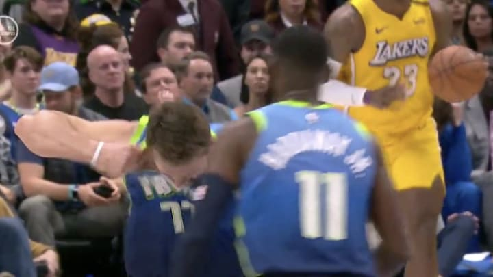 Dallas Mavericks star Luka Doncic rips his jersey against the Los Angeles Lakers