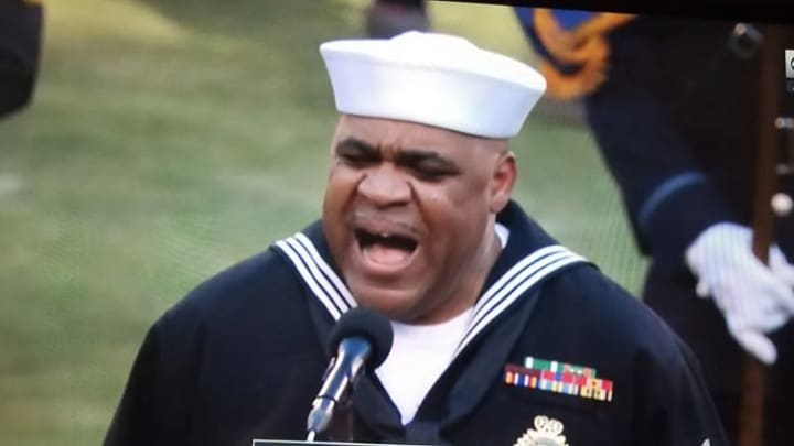 Navy officer Generald Wilson sang a national anthem to remember at the AFC Championship Game
