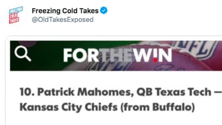 An old draft evaluation of Kansas City Chiefs QB Patrick Mahomes is one of the worst of all time.