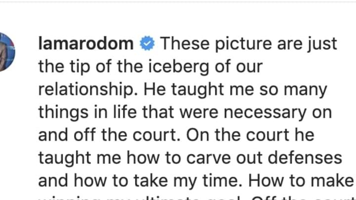 Lamar Odom pens emotional tribute to Los Angeles Lakers teammate Kobe Bryant