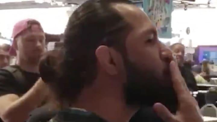 Jorge Masvidal blows a kiss to Kamaru Usman on Radio Row ahead of Super Bowl LIV in Miami