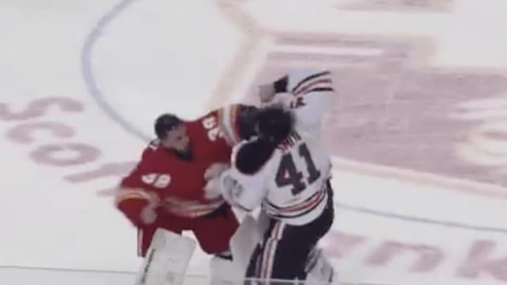 We've got a goalie fight in Oilers-Flames