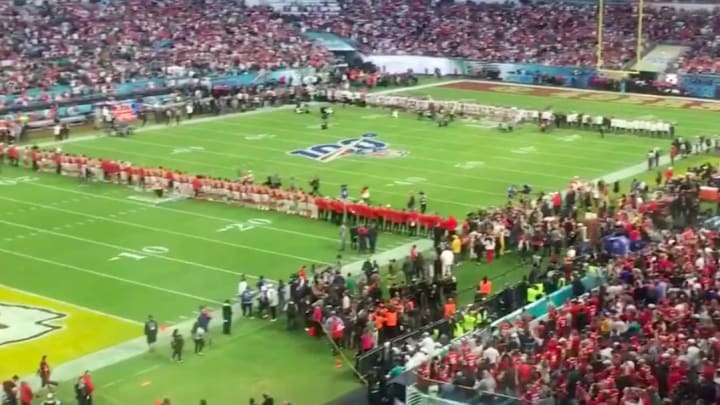 The Chiefs and 49ers honor Kobe Bryant by lining up at the 24-yard line before Super Bowl LIV.