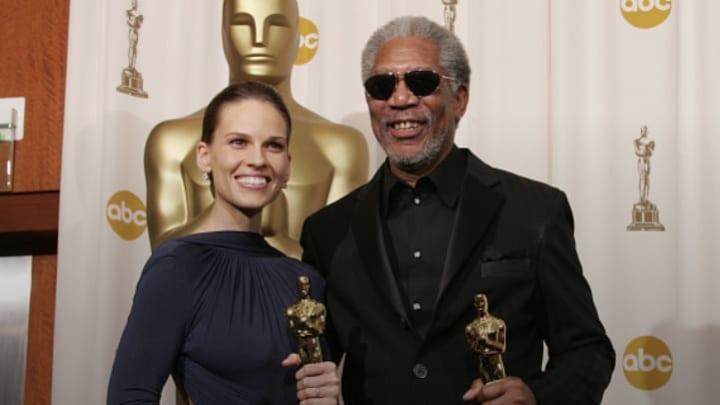Hillary Swank and Morgan Freeman with their Oscars