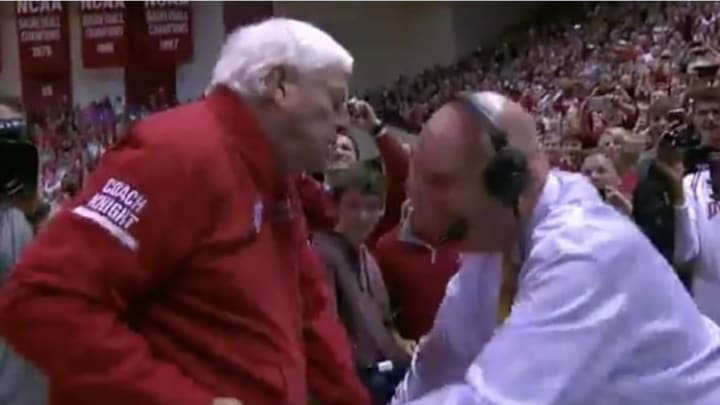 Bobby Knight tackles Dickie V in his return to Assembly Hall in Bloomington, Indiana