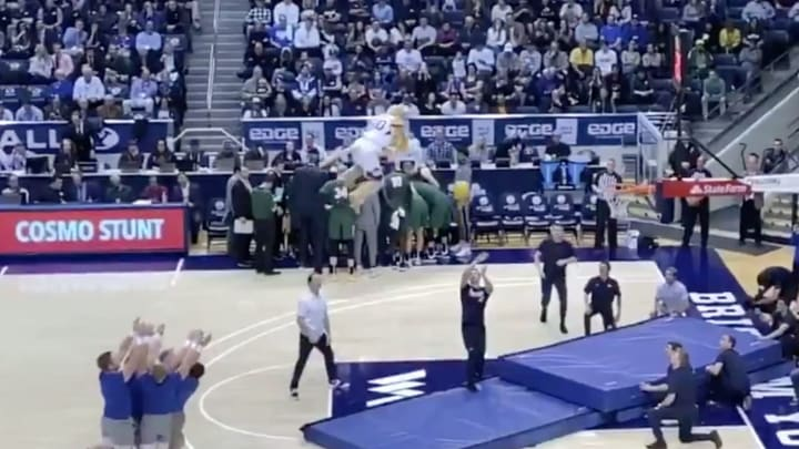 The BYU mascot made an incredible dunk during halftime.