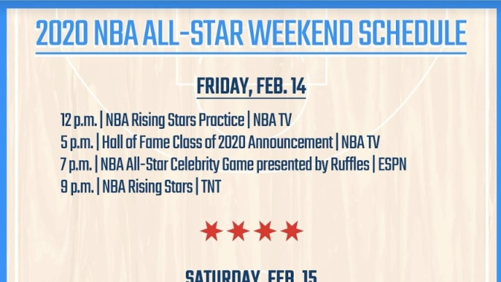 The full printable schedule for the 2020 NBA All-Star Weekend.