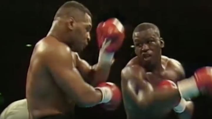 """James """"Buster"""" Douglas knocks out Mike Tyson to become heavyweight champion of the world"""