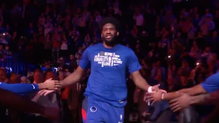 Joel Embiid was booed by 76ers fans during player introductions on Tuesday night