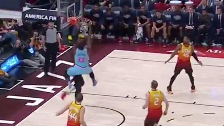 Miami Heat big man Bam Adebayo posterizes Utah Jazz center Rudy Gobert