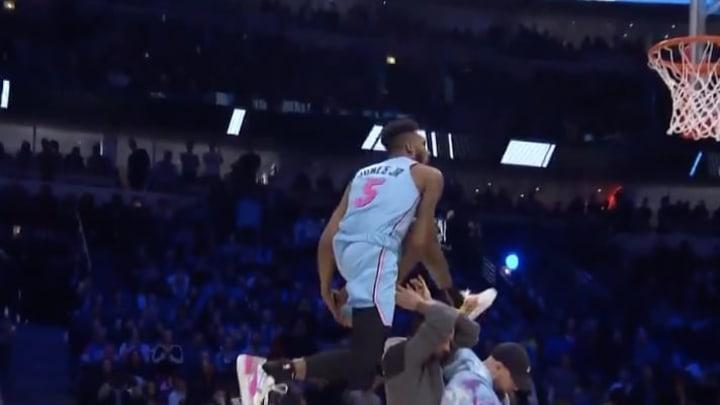 Derrick Jones Jr. of the Miami Heat has won the Dunk Contest, but...Tacko...