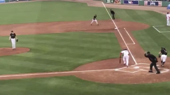Red Sox prospect Jeter Downs record infield single