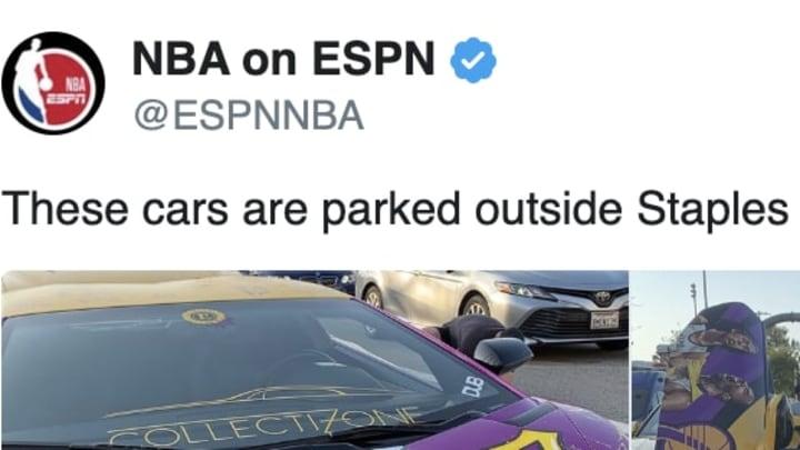 Luxury sports cars honoring Kobe Bryant were parked outside Staples Center on Sunday.