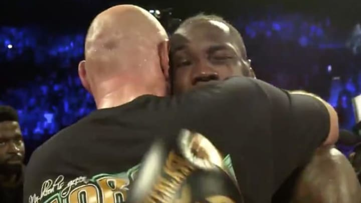 Tyson Fury and Deontay Wilder shared a touching moment moments after their fight concluded