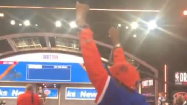 Long-suffering Knicks fan Spike Lee celebrates the selection of RJ Barrett.